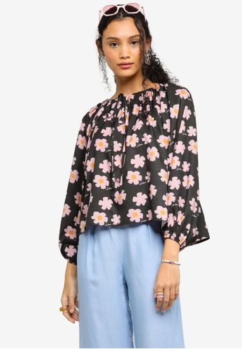 Lubna pink and green Printed Peasant Blouse CB72EAA6CDC58CGS_1