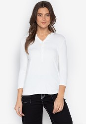 MARKS & SPENCER white Long Sleeve Popover Top 9B90CAA676298BGS_1