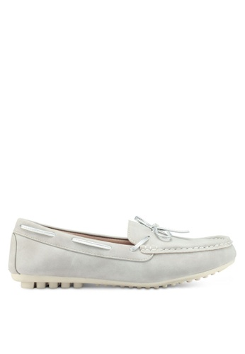 Bata 灰色 蝴蝶結船型平底鞋 51FDCSH67934D5GS_1