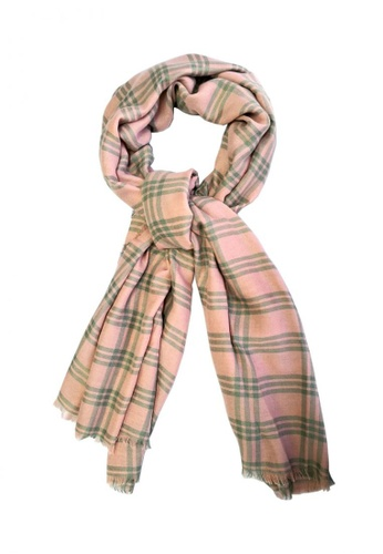 Chronomart pink Evelyn & Alison Lightweight & Comfy Fabric Checkered Scarf CH783AC0KMGHPH_1