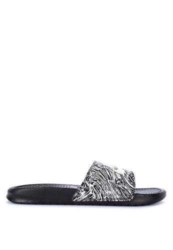 "Nike black and white Men's Nike Benassi ""Just Do It."" Print Sandals CFE85SHEA8D9B4GS_1"