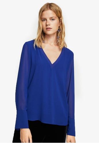 Mango blue Double-Layer Blouse MA193AA0RMJQMY_1