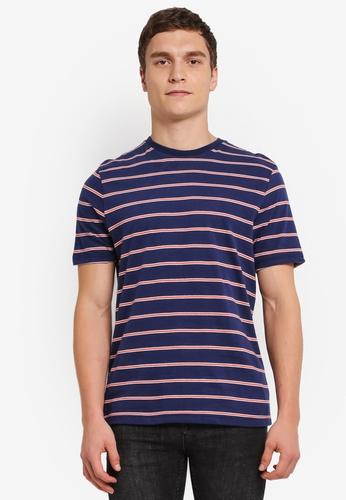 Topman brown Navy And Orange Stripe T-Shirt TO413AA0SJKVMY_1