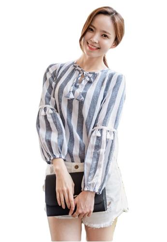 Shopsfashion white and navy Bom Bom Blouse in Strip SH656AA0GYCOSG_1