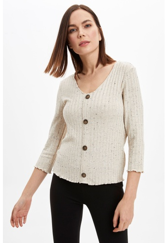DeFacto beige Woman Knitted Long Sleeve T-Shirt 12841AAD941B36GS_1