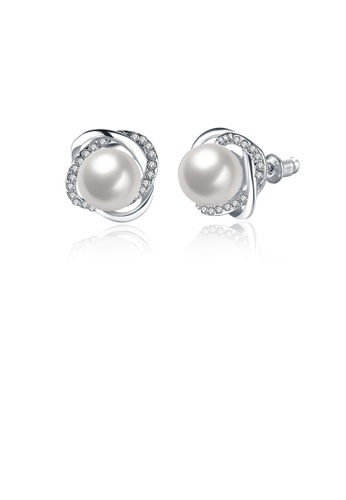 Glamorousky white Elegant and Fashion Flower Pearl Stud Earrings with Austrian Element Crystal 78CF2ACD5535B0GS_1