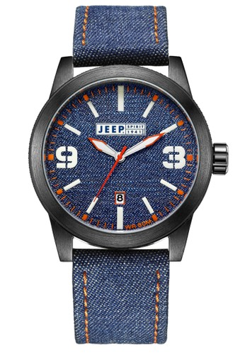 Jeep Spirit Casual Denim Multifunction Watch Jeep JPS70305 Blue Jeans Black Leather
