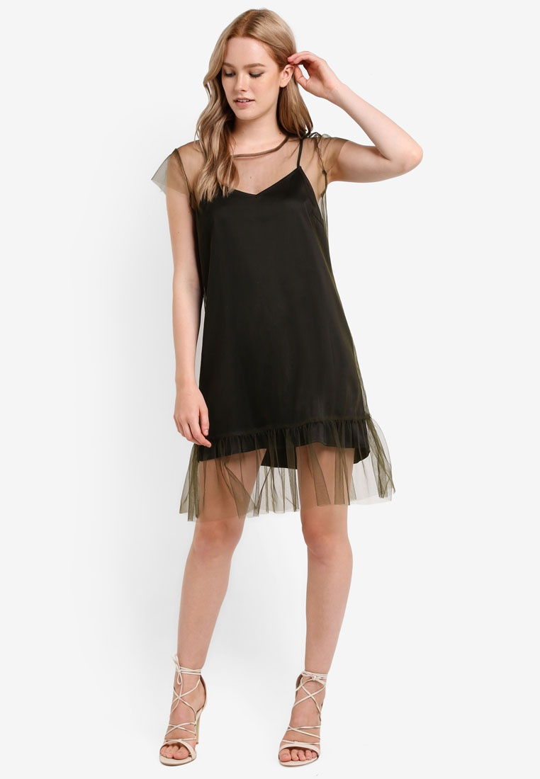Hem Satin Army Mesh Mesh 1 Black 2 Borrowed Something Green Fluted Dress In qZFxtH