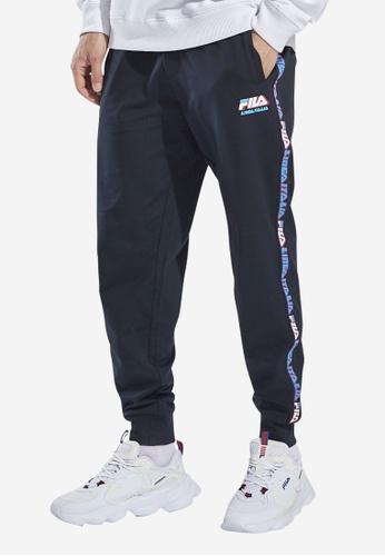 FILA black Fusion BTS FILA LINEA ITALIA Logo Side Taped Cotton Jogger Pants BBCF0AA1FD4013GS_1