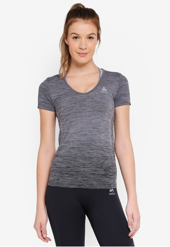 Odlo grey Maia Seamless BL Short Sleeve V-Neck Top 61915AA098CB80GS_1