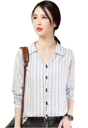 A-IN GIRLS white Long Sleeve V-Neck Striped Shirt 08360AA30D0834GS_1