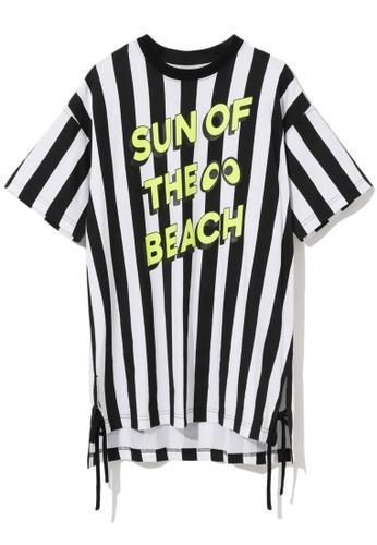 "Mini cream black ""Sun Of The Beach"" stripe tunic 97759AAD474BC5GS_1"