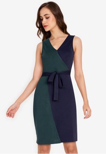 ZALORA WORK multi Colourblock Wrap Dress 7AAE4AA71AB566GS_1