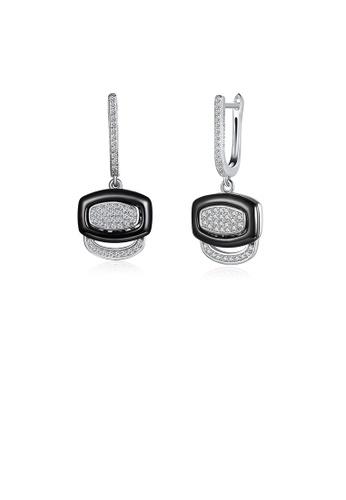 Glamorousky white 925 Sterling Silver Fashion Geometric Black Ceramic Cubic Zircon Earrings E7570AC0E8616FGS_1