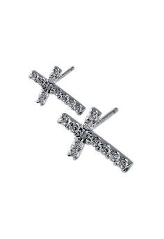 Cross-shaped Paved setting Silver Earrings with Cubic Zirconia