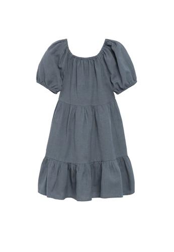 MANGO KIDS grey Linen-Cotton Dress 0899FKA185AF9CGS_1