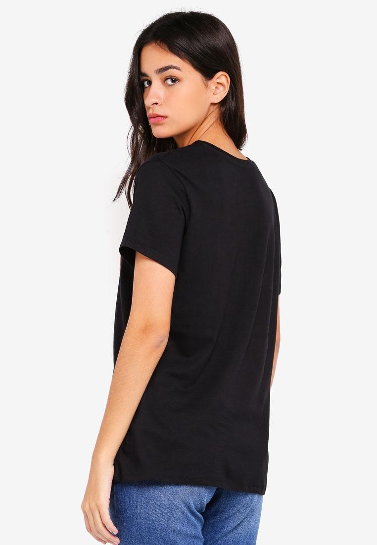 On Tshirt Cotton Graphic Fox Tbar Black 0nBFFdTqw