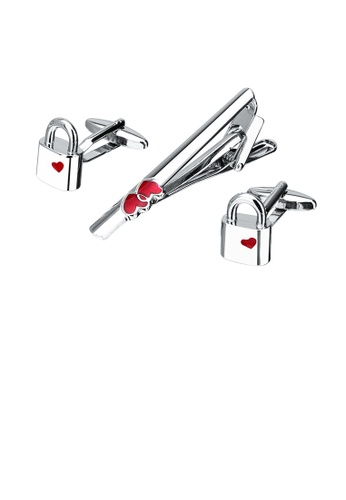 Glamorousky silver Simple and Sweet Heart-shaped Lock Tie Clip and Cufflink Set F0D1BACCF34E6CGS_1