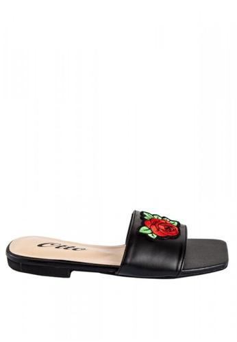 Otto black Floral Parch Slide Sandals E9E34SH3515557GS_1