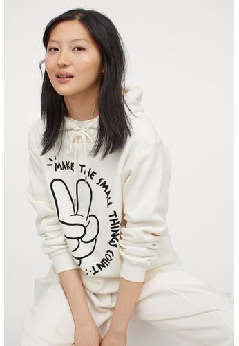 H&M white Motif-front hoodie 57145AA212285FGS_1