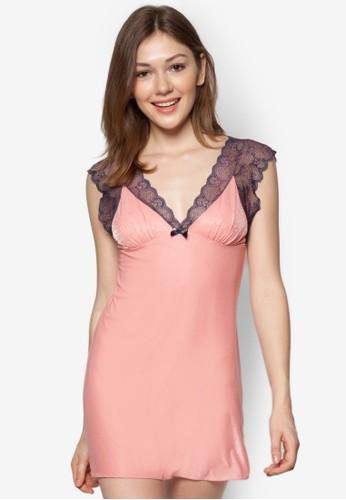 Annalisa 2 蕾絲拼肩低胸睡裙, 服飾, 睡zalora 順豐衣