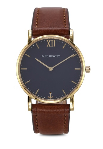 Paul Hewitt brown Sailor Line Blue Lagoon IP Gold Watch 4C009ACCD0021DGS_1