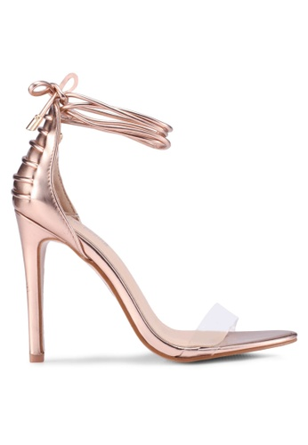 Public Desire gold Bare Lace Up Persepx Toe Barely There Heels 71758SHC816E84GS_1