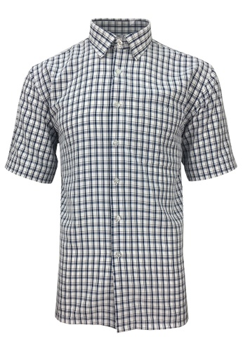 Pacolino blue Pacolino - Korea Polynosic Wrinkle Free Checker Formal Casual Short Sleeve Men Shirt 566B6AA680F99EGS_1