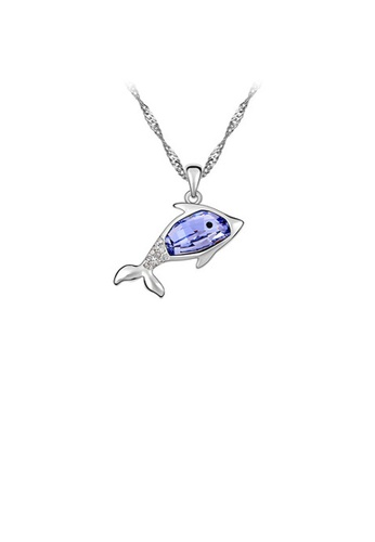 Glamorousky purple Cute Dolphin Pendant with Austrian Element Crystal and Necklace 7756AAC9263E42GS_1