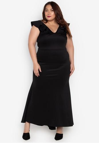 eb5ec93b8e5 Ashley Collection Plus black Plus Size V-Neck Ruffle Sleeves Bridesmaid  Dress A5493AA2C6C9DFGS_1