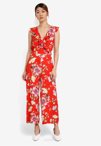 WAREHOUSE red Int Floral Print Jumpsuit WA653AA0SHL6MY_1