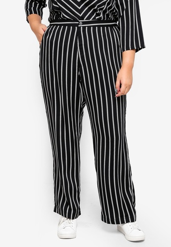 Ex'otico black Plus Size Striped Trousers 6560BAA746CE31GS_1