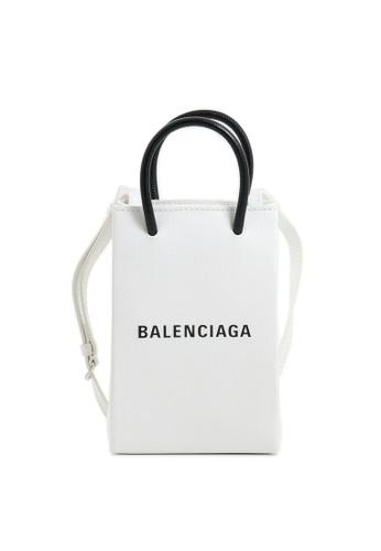 BALENCIAGA white Shopping Phone Holder PHONE HOLDER/CROSSBODY BAG 0747EAC0AB9E57GS_1