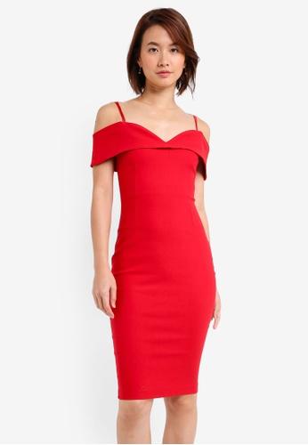 Vesper red Vesper Billie Cold Shoulder Midi Dress 2CFA2AA62918B9GS_1