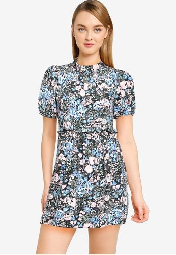 Miss Selfridge blue and multi Petite Blue Floral Ruffle Smock Dress 69D0BAAD4CACE7GS_1