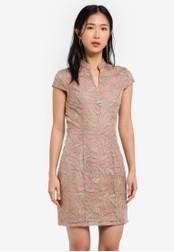 ZALORA gold High Neck Mini Dress 73473AAE79133AGS_1