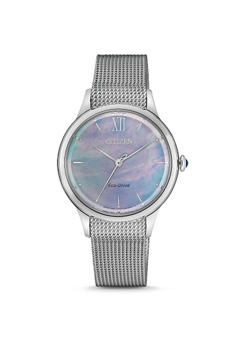 Citizen silver CITIZEN EM0810-84N ECO-DRIVE MOTHER OF PEARL WOMEN'S WATCH 742EBAC9AAD474GS_1
