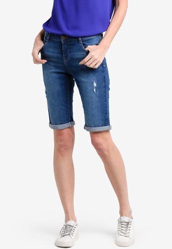 Dorothy Perkins blue Mid Wash Knee Shorts DO816AA14RCVMY_1