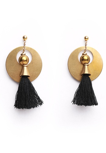 Gung Jewellery gold Mika Antique Gold Black Tassel Earrings F7B63AC10FF6D6GS_1