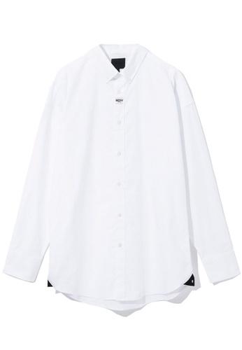 MUSIUM DIV white Woven logo patch shirt 351B8AAE699516GS_1