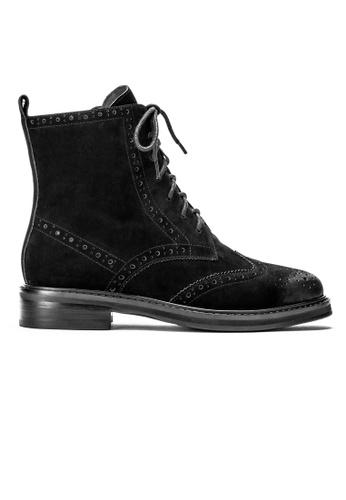 Byford black Breck Suede Brogue Leather Boots D4FFFSH73EB5D0GS_1