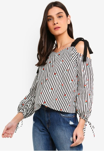 OVS black and multi Cotton Blouse With Striped Cut Out Shoulders 9065BAA01F13B3GS_1