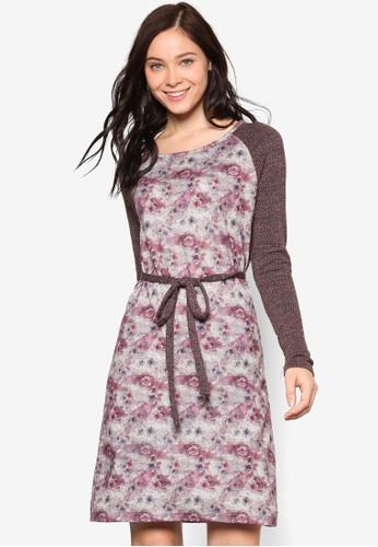 Elvira esprit專櫃長袖印花連身裙, 服飾, 洋裝