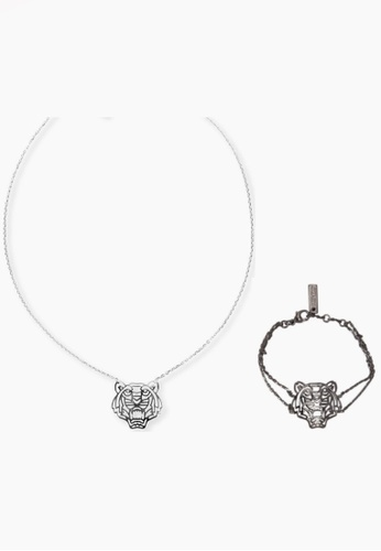 Kenzo silver KENZO TIGER NECKLACE AND BRACELET SET F3A66AC90BC28BGS_1