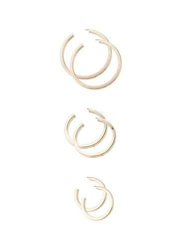 Red's Revenge silver 3-in-1 tube hoops earring set 0AC05AC048BA21GS_1