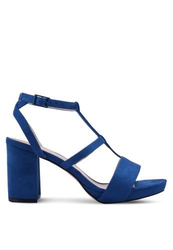 ZALORA 藍色 麂皮繞帶粗跟鞋 441C7SH1FF9BA9GS_1