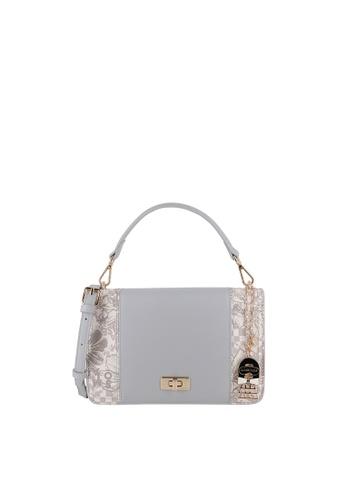SEMBONIA grey Blooming Lover Top-Handle Bag D97D1AC78F2EBEGS_1