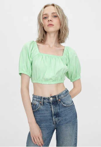 Pomelo blue Sustainable Tie Back Crop Blouse - Mint 907A3AA37F118BGS_1