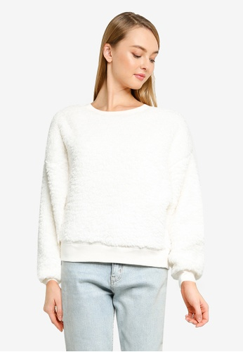 GAP white V-Nl Sherpa Po Crew Sweater 92743AA46C772AGS_1
