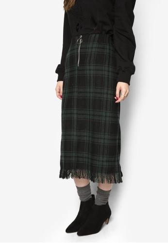 韓時尚格紋羊毛過膝裙, 服飾,zalora 鞋評價 裙子